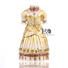 H&D Miniature Wedding Dress Jeweled Trinket Box Ring Holder Earring Jewelry Box with Crystal (wedding dress) top selling jeweled lacquer owl on branch trinket box owl jewelry box