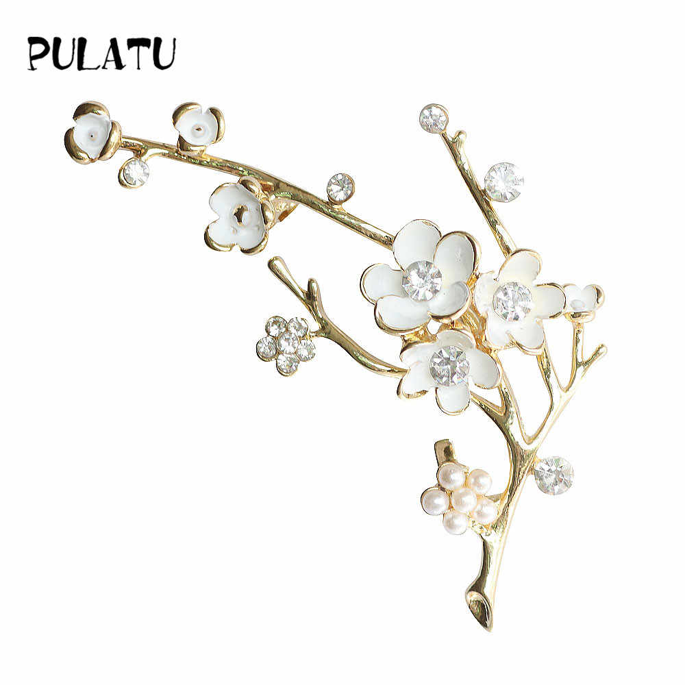 PULATU Plum Blossom Brooches for Women White Enamel Flower Golden Ally Bouquet Brooch Pins Coat Jewelry High Quality Gift