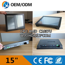 15″ industrial pc touch LED screen Resolution with 1024×768 RS232/RS485 ports celeron C1037U all in one PC