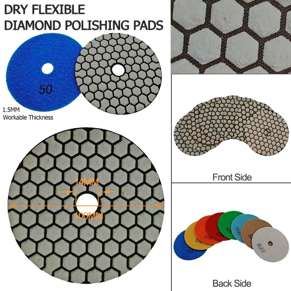 Купить с кэшбэком SHDIATOOL 7pcs 100MM Resin Bond Diamond Polishing Pads+1pc M14 Aluminum Base Backer, Sanding Disc Granite Marble Polishing Disc