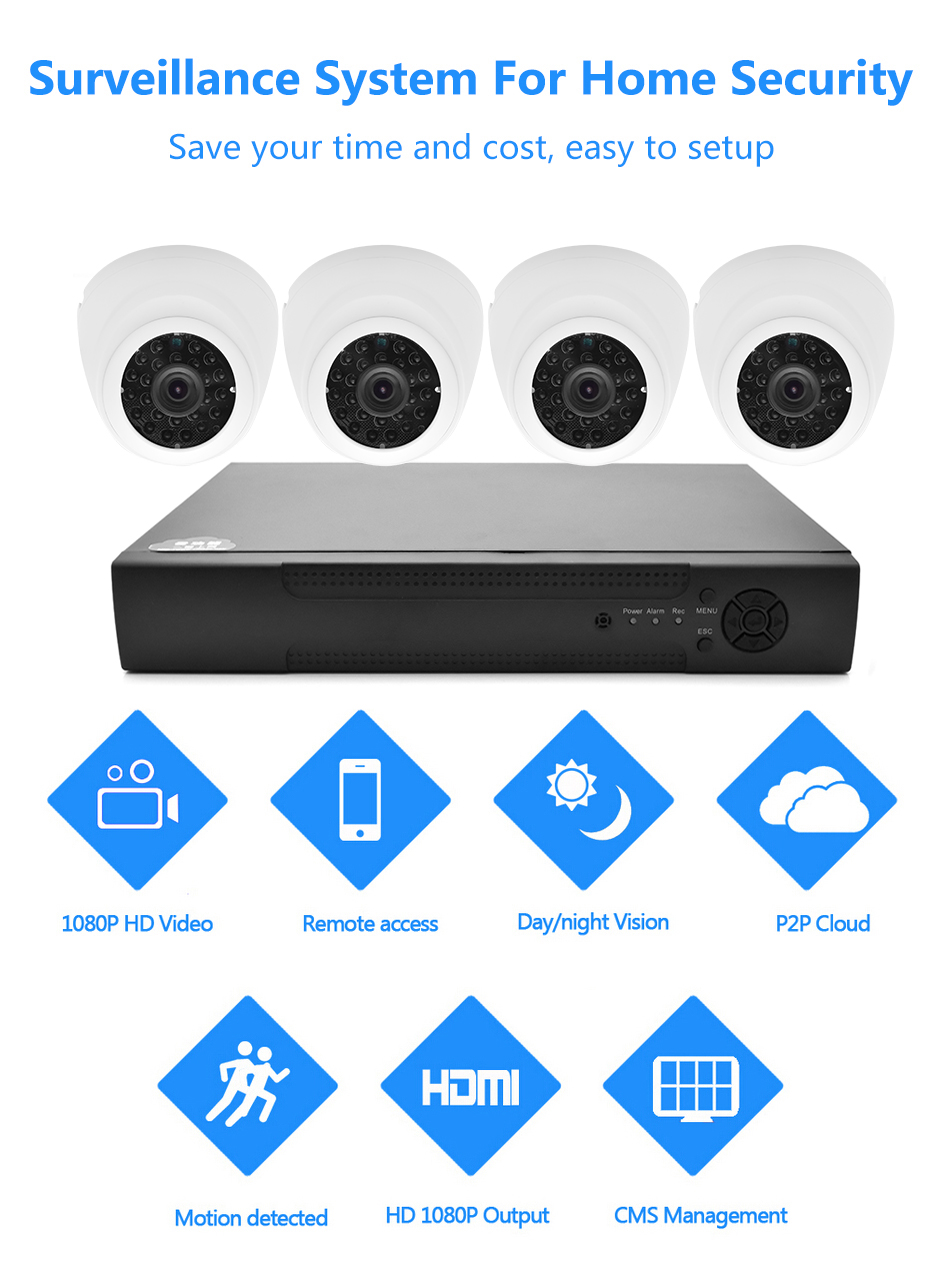 Wistino 1080P 4pcs IP Camera CCTV Security System Kit Night Vision 8CH NVR Recorder Surveillance Monitor Kits H.265 XMeye 720P 960P (1)