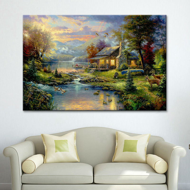 Thomas Kinkade Print Work Poster And Print Of Cottage Giclee Artwork On Canvas Wall Photos For Residing Room Dwelling Decor Caudros
