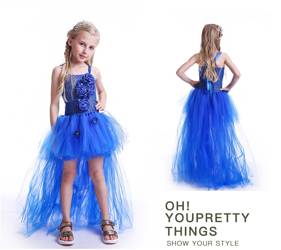 Royal Blue Flowers Girls Tutu Dress High Low Ice Princess Tulle Dress for Wedding Pageant Party Handmade Baby Photo Costume (7)