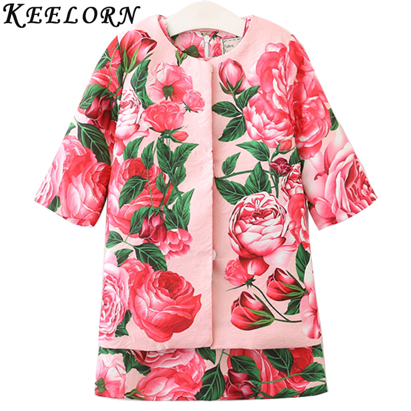 Keelorn Girls Clothing Sets 2017 New Summer Rose Print Dress+ Coat 2Pcs Suit Brand Kids Clothes European and American Style 3-8Y стоимость