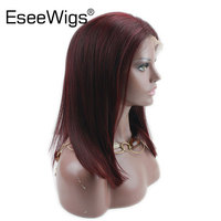 Eseewigs 99J Human Hair Full Lace Wig Burgundy Bob Lace Front Ombre Colored Brazilian Remy Hair Pre Plucked 130% Density Red Wig