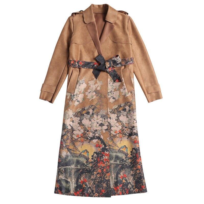 Vintage Druck Wildleder Graben Mantel Für Frauen Manteau Femme Hiver Frühling Lange Outwear Weibliche Windjacke Strickjacke Graben C4056