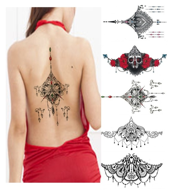 12pcslot Temporary Tattoos New Large 2413cm Breasts Sexy Tattoo