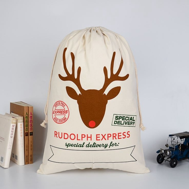 2965591fa6e Free Shipping+Wholesale Christmas gift bag large canvas Santa sack reindeer  organic heavy canvas drawstring bag,50pcs/lot