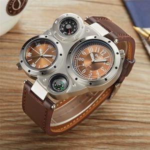 Image 3 - Oulm 男性時計温度計コンパスユニークなデザイナーの高級ブランドメンズスポーツ腕時計 2 タイムゾーンの男性腕時計