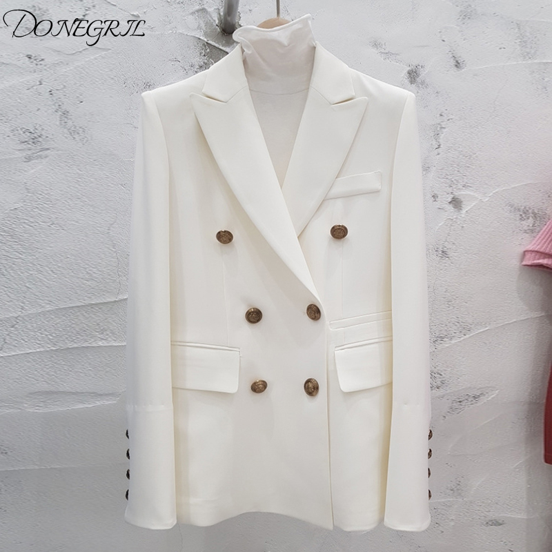 High Quality 2020 Spring Women's Jacket Blazer Coat Double-Breasted Black White Office Blazer Long Sleeve Female Suits Jacket Ou