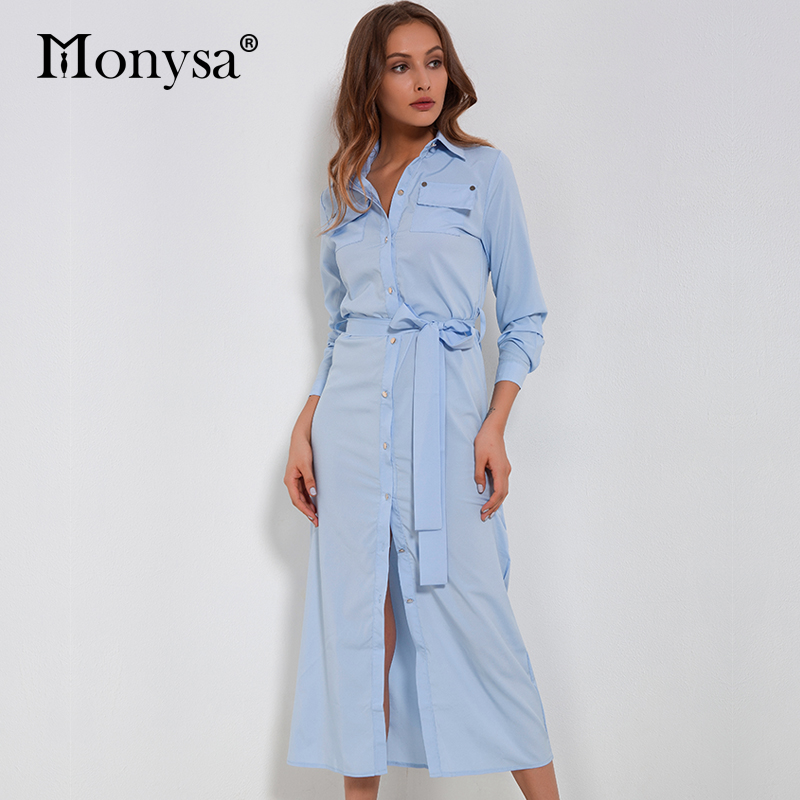Casual Chiffon Dress Women 2018 Autumn New Arrivals Fashion Long Sleeve Button Shirt Dresses Ladies Long Dress With Belt Blue|ladies long dress|fashion long dresslong dress - AliExpress