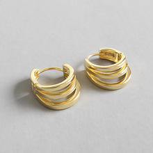 Real 925 Sterling Silver Earrings 2019 Unique Three Circles Hoop For Women Gold Party Jewelry