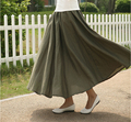 hot ! 2016 new fashion fall and spring  fresh retro cotton solid color linen skrit