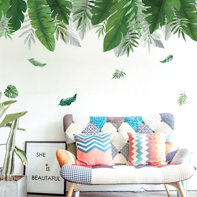 Bosque Tropical planta pared pegatina verde plátano bambú hoja de inyección de tinta pared pegatinas hogar habitación de los niños Interior pared pegatinas DIY barbería tienda reloj gigante de pared con efecto espejo Barbero herramientas kits reloj decorativo sin marco reloj peluquero Barbero arte de pared