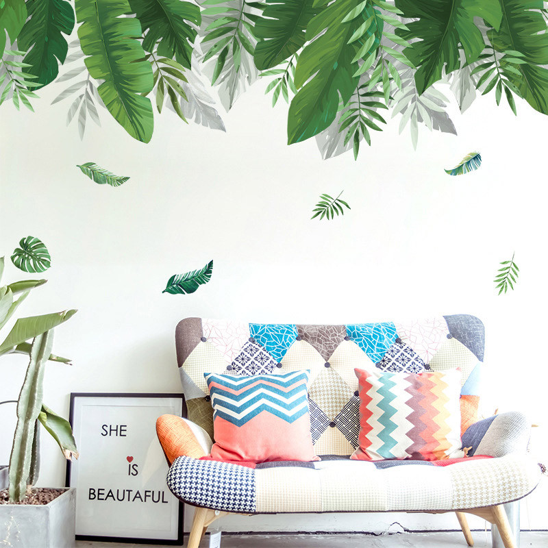 Tropical Rainforest Plant Wall Sticker Green Banana Bamboo Leaf Inkjet Wall Stickers Home Children's Room Interior Wall Stickers