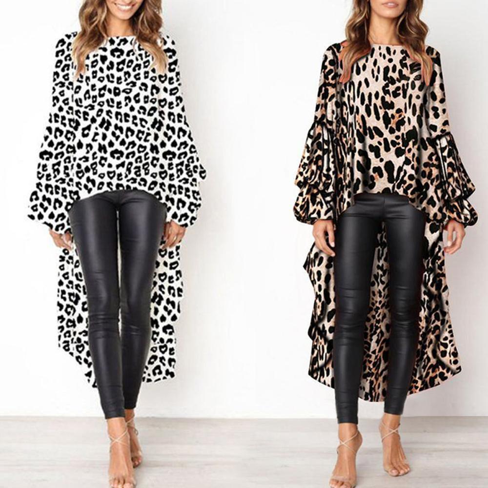 YJSFG HOUSE Women   Shirt   Sexy Leopard Casual   Blouse   Irregular O-Neck Long Sleeve   Shirt   Tailed   Blouse   Tops Women Clothes