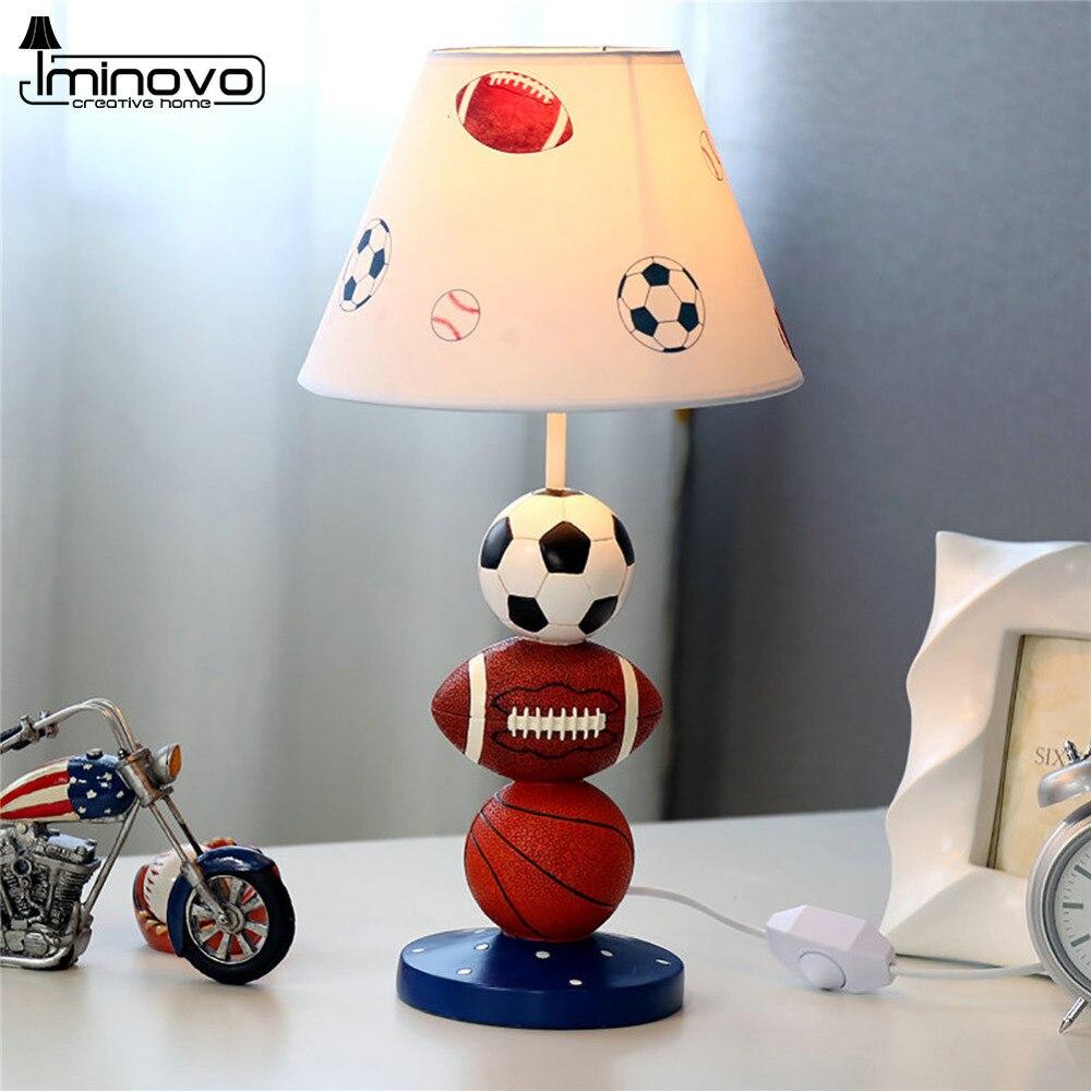 Online buy wholesale baseball desk lamp from china baseball desk iminovo table lamp led lighting desk lamps e27 bulb for bedroom decor resin cartoon painting linen geotapseo Image collections