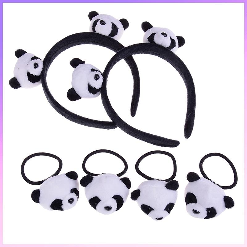 1Pcs Hair Hoop Or 2pcs Hair Band Cartoon Little Plush Toys For Hair Band Kid's Party Gift Panda Plush Stuffed Toys