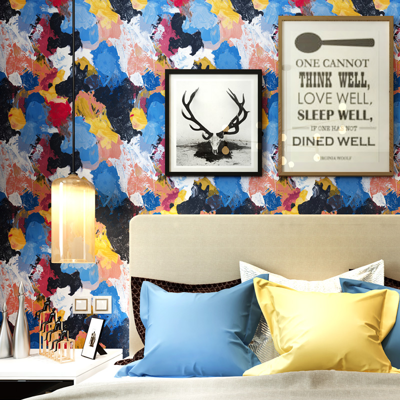 Modern Style Wallpaper Personality Abstract Oil Painting Bedroom Living Room TV Background Restaurant Coffee Shop Wallpaper beibehang nostalgic cowboy blue pvc wallpaper net coffee personality shop clothing store theme restaurant coffee shop wallpaper