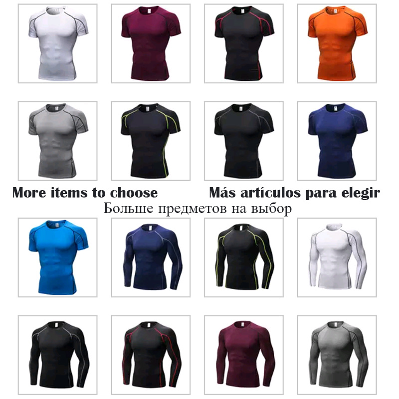 Men Sport Shirt man Gym Fitness Tight Running Compression T-shirt Basketball Jersey Sportswear Bodybuilding Gym man's T-shirt 4