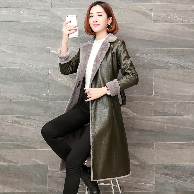 Taille Femmes Plus Green Faux D'hiver Chaud Cuir Mouton Flocage Qualité En dark Manteau Vestes Black Haute Survêtement red Long La Femme Peau De Mince Cachemire SqRxwn4CU