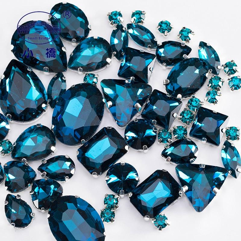 Glitter Flatback Rhinestones For Sewing Loose Colorful Craft Gems Peacock Blue Decorative Diy Rhinestone Mix 50PCS/PACK S052