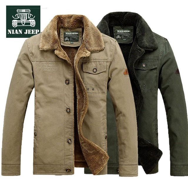 Best Offers NIAN JEEP Brand Clothing Men's Winter Jacket Coat Turn Down Collar Warm Fleece Liner Parka Plus Size 4XL 140