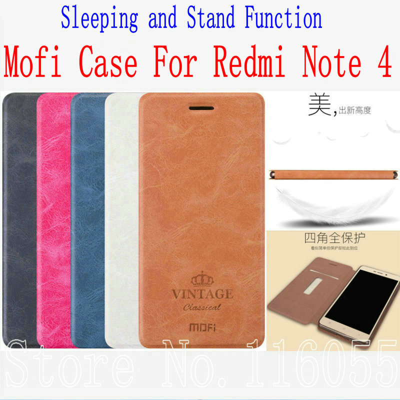 For Xiaomi Redmi Note 4 Case Mofi Luxury PU Flip Leather Cover Case For Redmi Note 4 Pro Prime Sleeping and Stand Function KT01