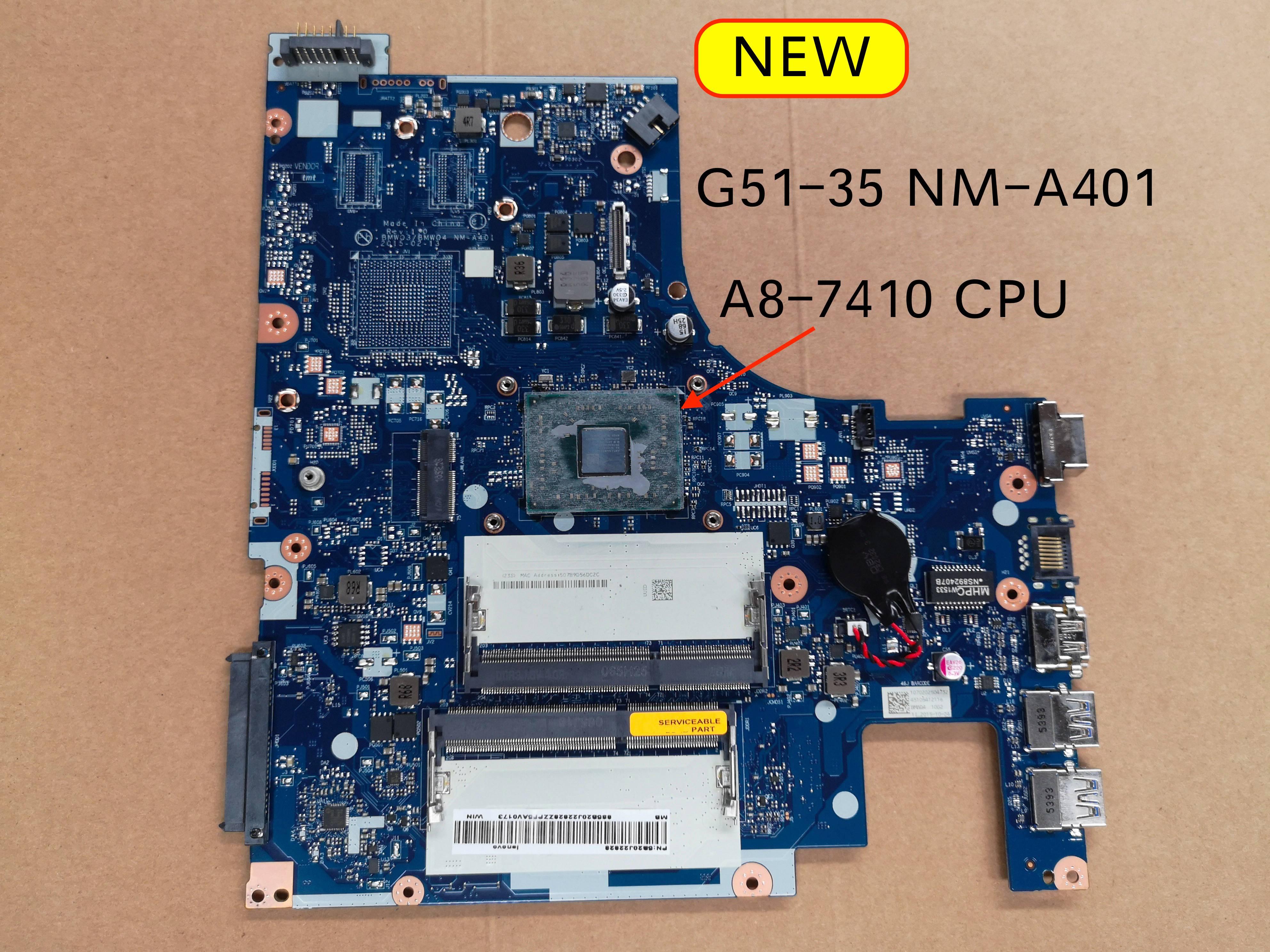 5B20J22828 For Lenovo Ideapad G51-35 G51 35 Laptop Motherboard BMWQ3/BMWQ4 NM-A401 Mainboard A8-7410U DDR3