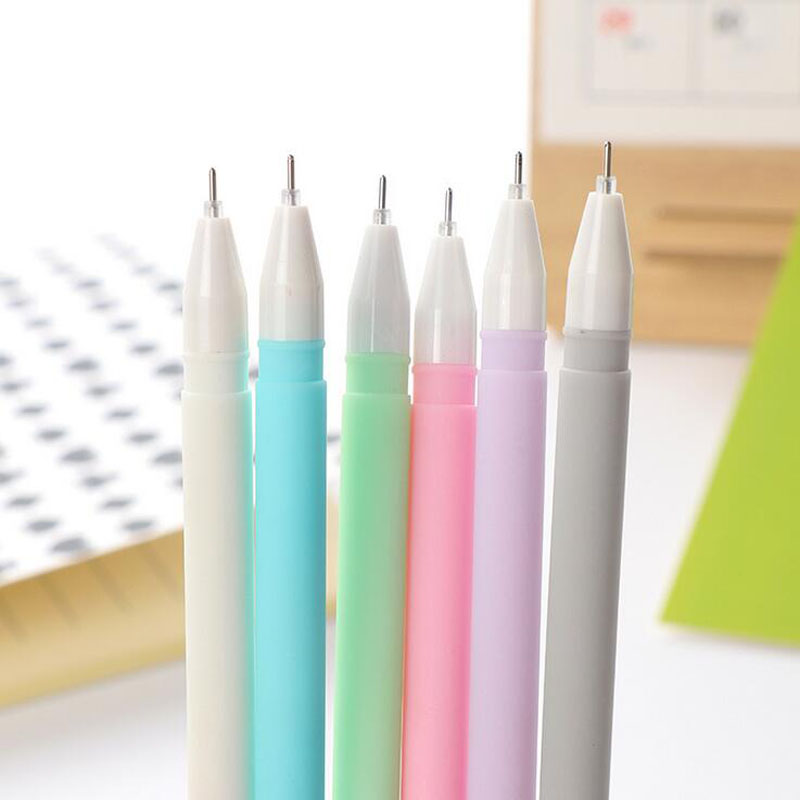 G17 4X Simple Candy Macaron Color Cute Jelly Gel Pen Writing Signing Pen Stationery School Supply Kids Student Gift