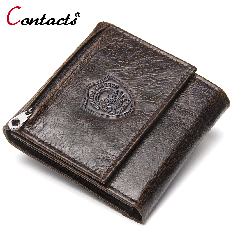 Contact's Brand Genuine Leather Men Wallet Coin Purse High Quality Male Short Purse Credit Card Holder Wallet Money Bag Clutch joyir vintage men genuine leather wallet short small wallet male slim purse mini wallet coin purse money credit card holder 523
