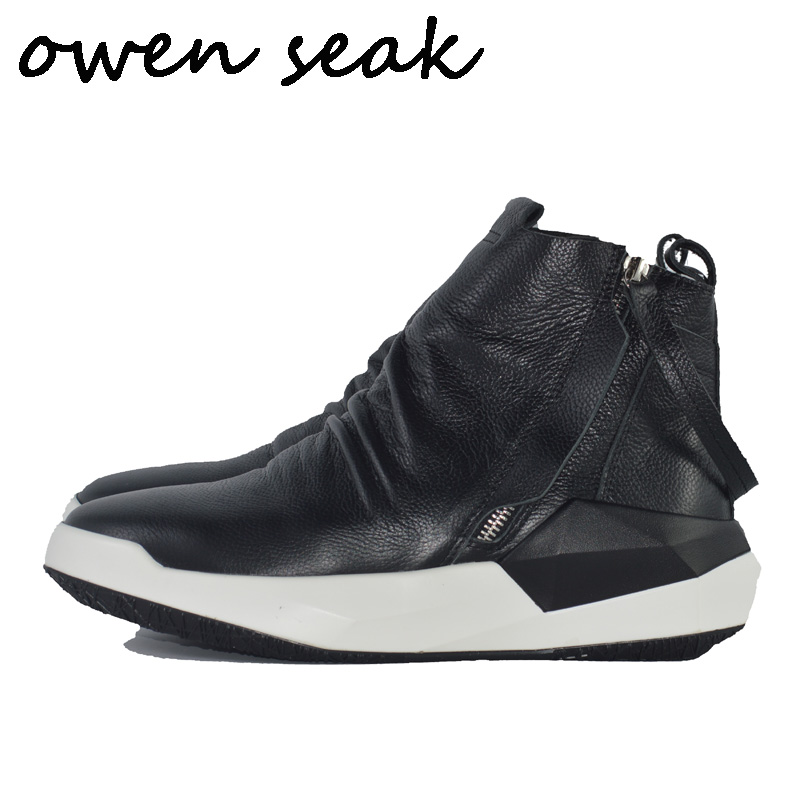 Owen Seak Men Shoes High TOP Ankle Boots Luxury Trainers Genuine Leather Sneaker Winter Boots Casual