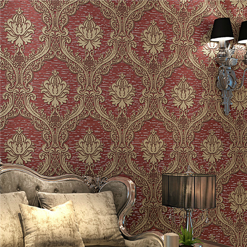 European Style 3d Damask Wallpapers For Living Room Green Non Woven Wall Papers Furniture Decor Blueredgold Fabrics In From Home