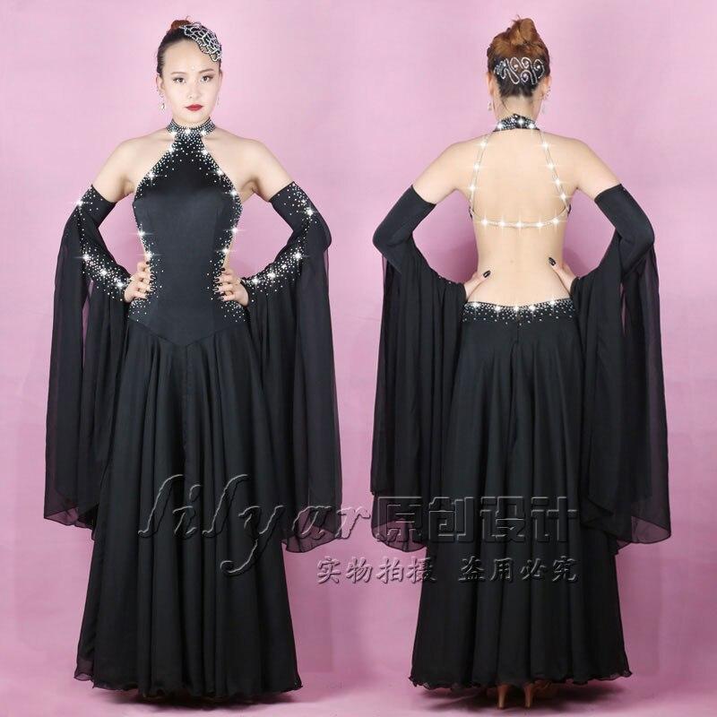 Nouveau style jupe moderne National Standard salle de bal danse Costume performance robe noir Sexy épaule exposée poisson os jupe