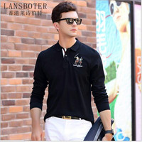 LANSBOTER Brand New Long Sleeved T Shirt Men S Cotton Bottoming Shirt Lapel Embroidery Polo Shirt