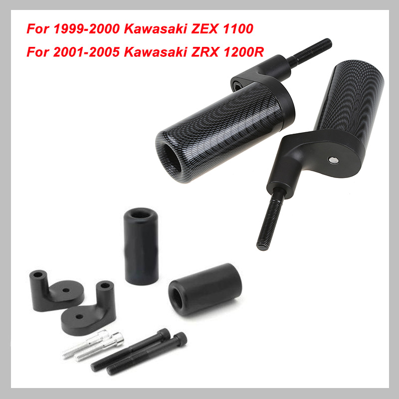 No Cut Frame Slider Pad For 1999-2000 Kawasaki ZRX1100 ZRX 1100 2001-2005 ZRX1200R 1200R Crash Falling Protection