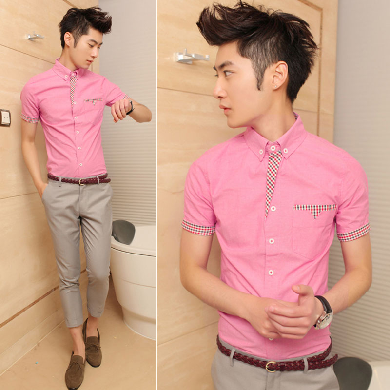 Free Shipping British Style Houndstooth Slim Pink Short Sleeve Shirt