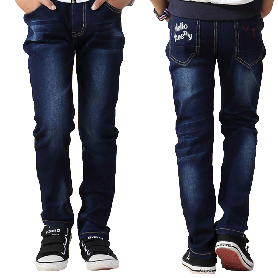 Kids jeans boys pants big kids trousers jeans denim casual pants teenage children outwear for 4-15 Y baby boys trousers outwear children s clothing male child jeans trousers spring autumn child jeans big boy letter print jeans trousers casual pants 4 14y