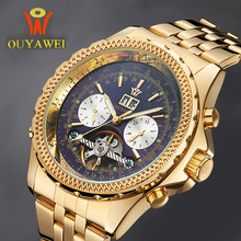 Mechanical Automatic Gold Watch Men Luxury Brand OUYAWEI Tourbillon Male Wrist Watch Stainless Steel Business Black Wristwatches