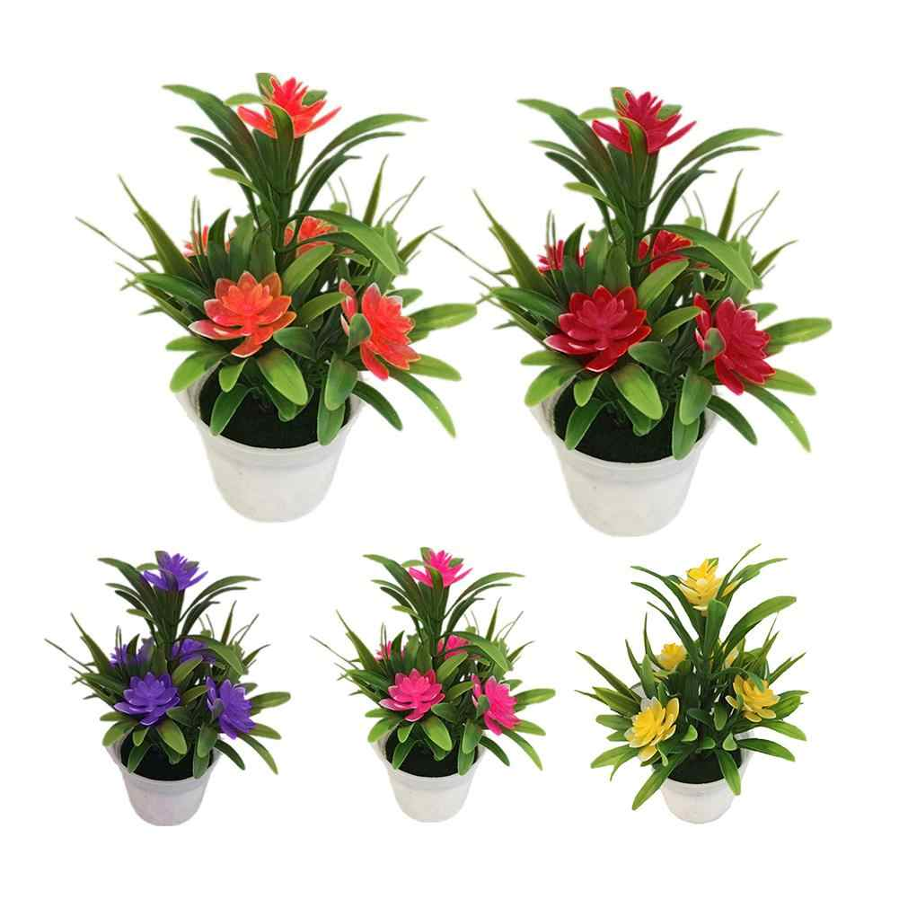 Artificial Fake Lotus Flower Potted Plant Bonsai Garden Wedding Party Garden Home Decoration Artificial Plants Hot Props
