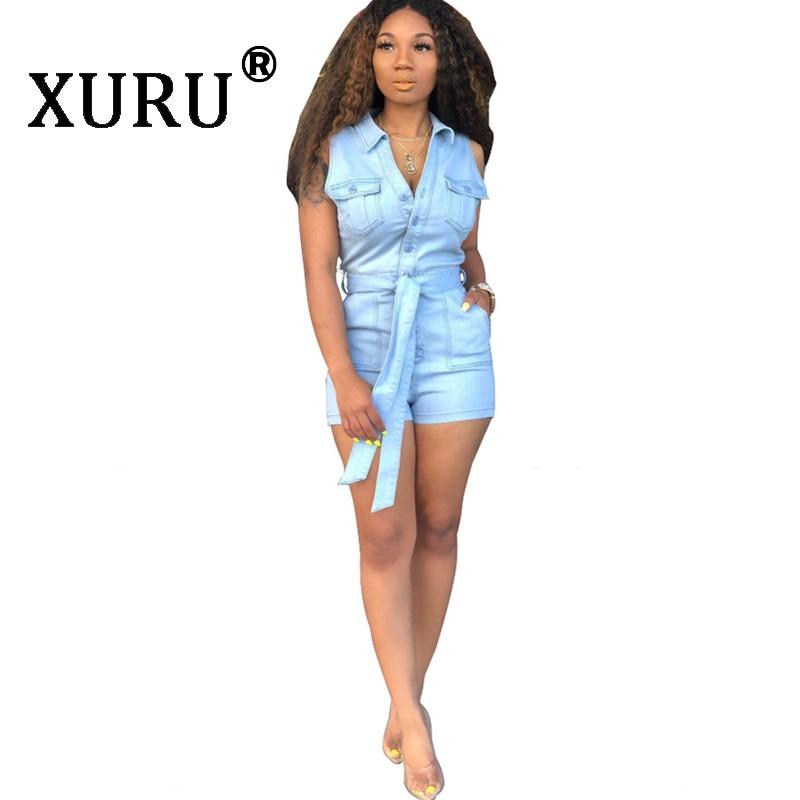 XURU summer hot sexy denim jumpsuit shorts fashion slim slimming washed