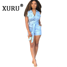 XURU summer hot sexy denim jumpsuit shorts fashion slim slimming washed