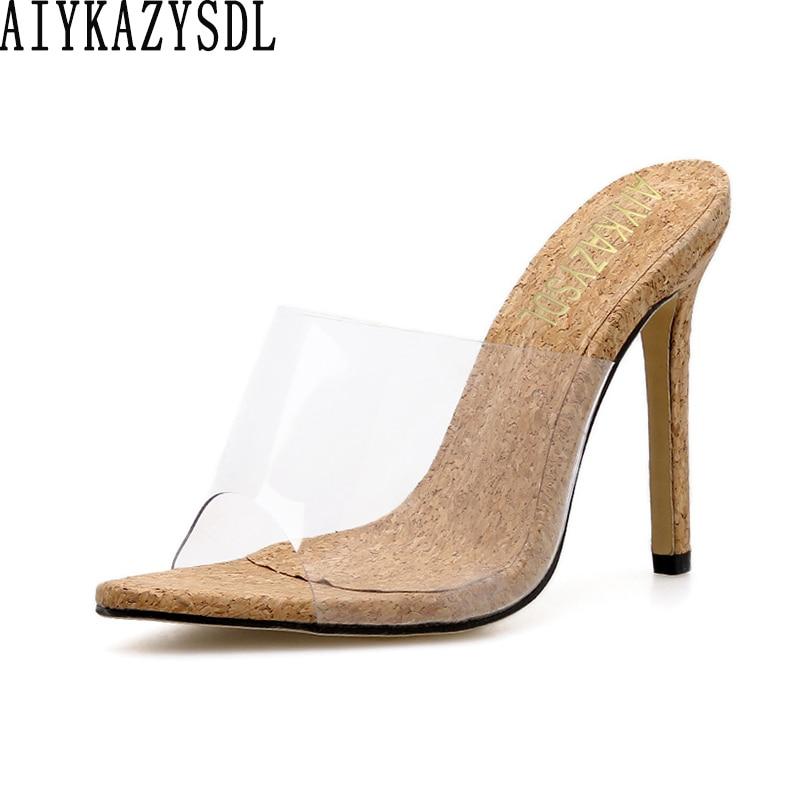 AIYKAZYSDL Women PVC Clear Peep Open Toe Sandals Clear Transparent Mules Slides Wood Shoes Summer Clubwear Dress Shoes Stilettos
