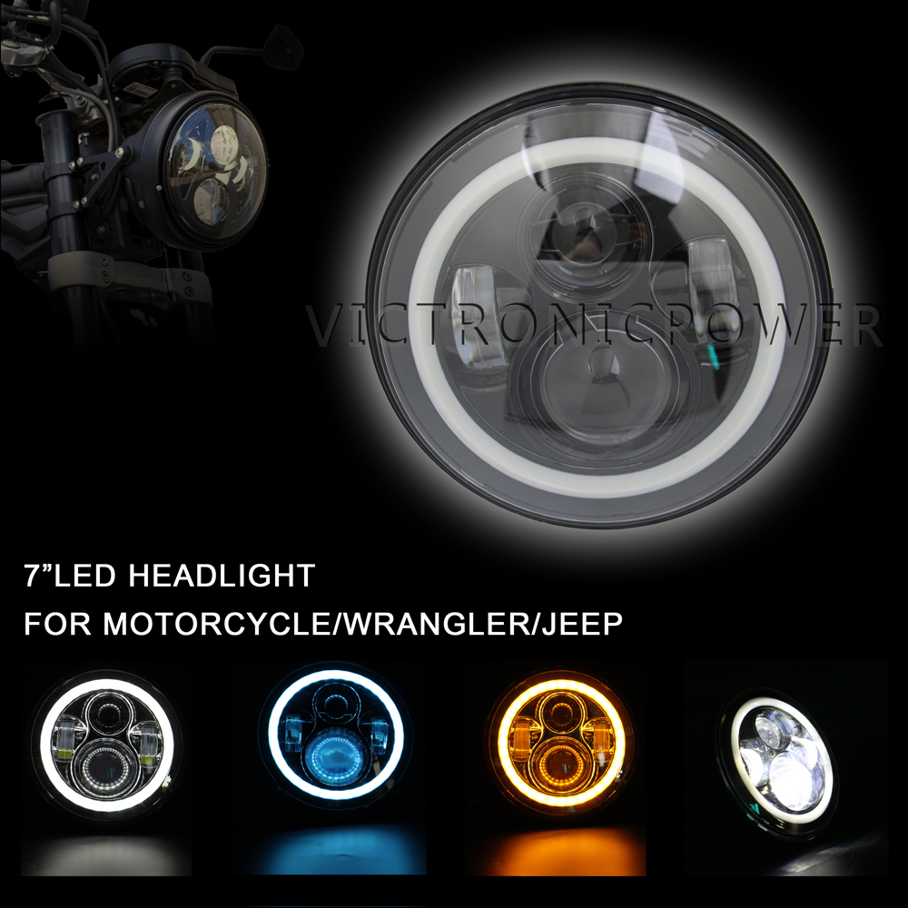 1pcs 7 Projector Daymaker 6000k LED Headlight Assembly White Angel Eye Halo Head Lamp For Harley Davidson H4 H13 Harness