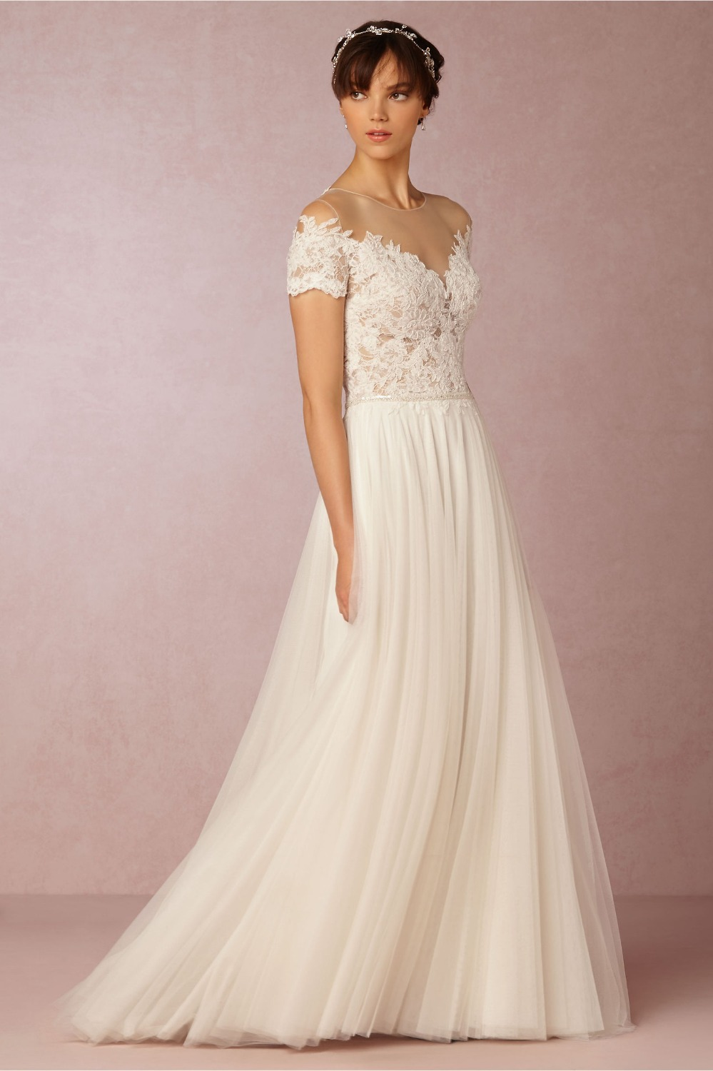 Stunning Sexy Illusion Neck Vestidos French Alencon Top Bridal Gown Sheer Back Silk Tulle Wedding Dress Sequins Belt Custom In Dresses From Weddings