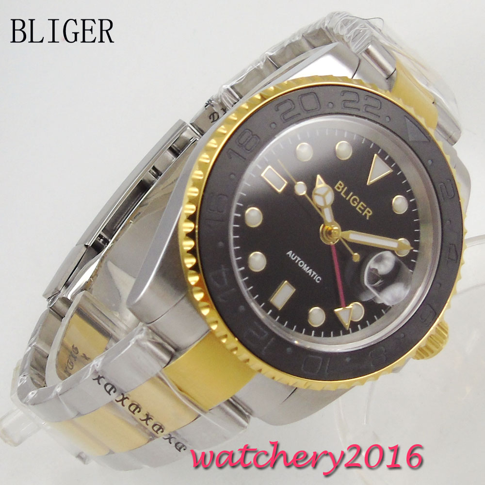Newest 40mm Bliger Sterile black dial Buckle Luminous Hands Sapphire Crystal GMT Automatic movement Mechanical Mens Wristwatch