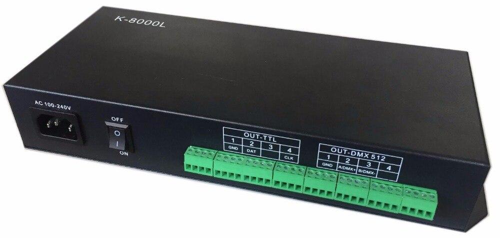 K-8000L; 8 ports TTL/DMX512 LED contrôleur de pixels; hors ligne; peut travailler avec la console DMX pour ajuster la luminosité de LED s