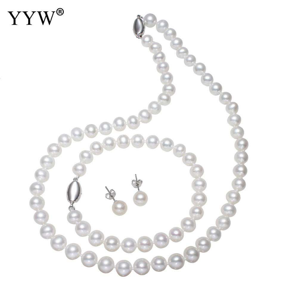 Luxury Natural Freshwater Pearl Sets Sterling Silver Necklace & Bracelets & Earrings Sets Women Wedding Jewelry with Velvet BoxLuxury Natural Freshwater Pearl Sets Sterling Silver Necklace & Bracelets & Earrings Sets Women Wedding Jewelry with Velvet Box
