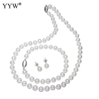 Luxury Natural Freshwater Pearl Sets Sterling Silver Necklace & Bracelets & Earrings Sets Women Wedding Jewelry with Velvet Box