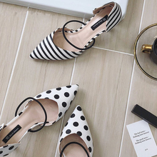 купить Summer Polka Dot Women Sandals Pointed Toe Women Stripe 6cm Thin Heel Ladies Slippers Comfortable Slip On Shoes Pumps по цене 1003.8 рублей